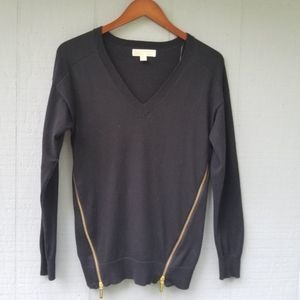 Michael Kors Black Sweater Gold Zipper Sides Small